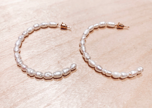 Pearly Beaded Hoops