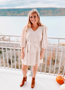 Winter White Belted Dress