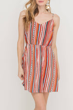 Load image into Gallery viewer, Festival Striped Tieback Dress