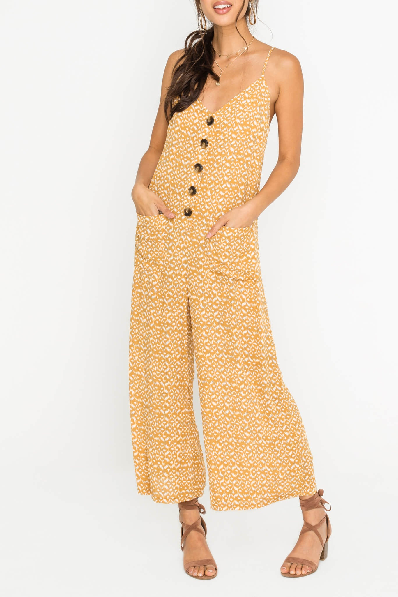 Button Down Mustard Jumpsuit