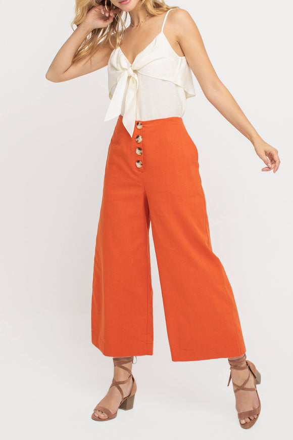 Button Down Culotte Pants