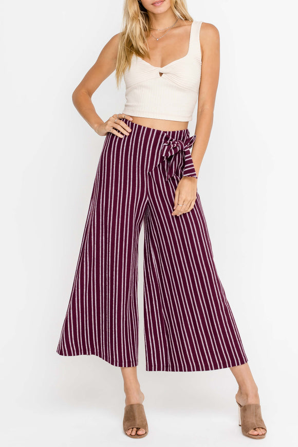 Wide Leg Striped Pants with Bow