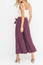 Load image into Gallery viewer, Wide Leg Striped Pants with Bow