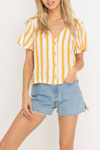 Gold Striped Button Down Top
