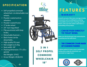 2 IN1 Self Propel Commode Wheelchair 18""