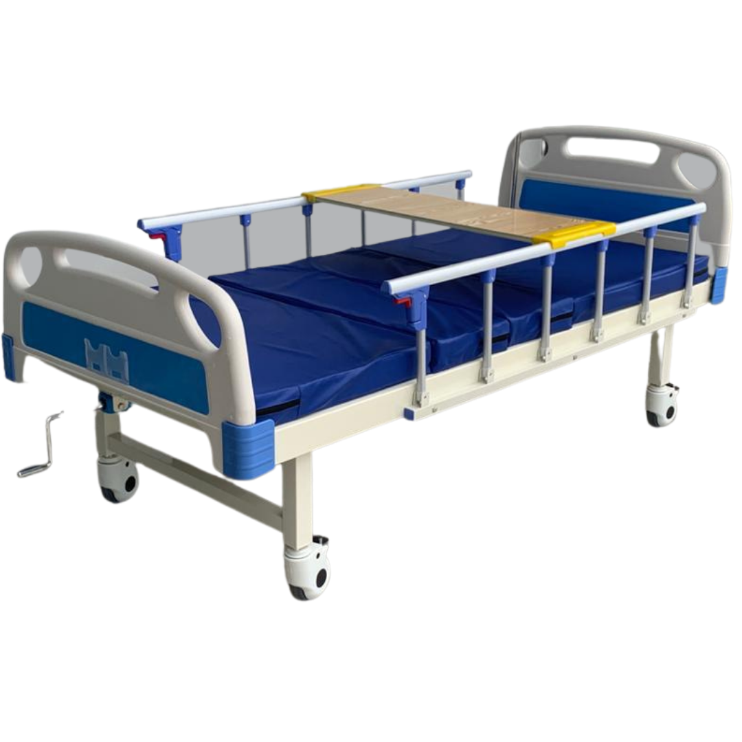 Manual 1 Crank Hospital Bed Full set (cum mattress and wooden table) (Home grade)