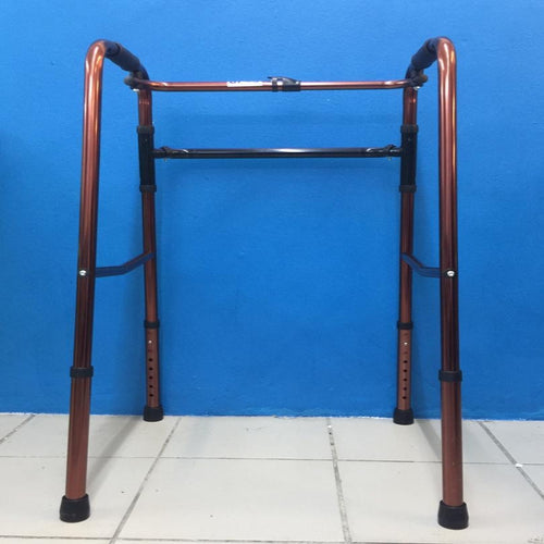 2 in 1 Aluminium Adjustable and Foldable Walking Frame with Rigid & Reciprocal Function, Brown - Asian Integrated Medical Sdn Bhd (ielder.asia)