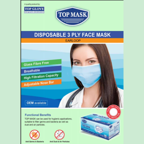 Top Mask Disposable 3 Ply Face mask (50pcs per box)