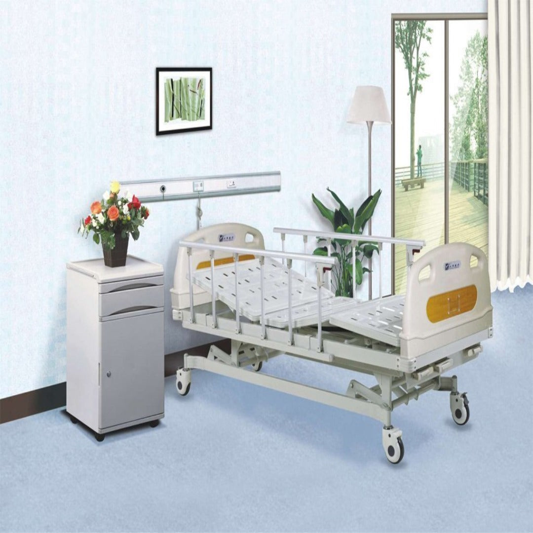 Manual Hospital Bed with Three Cranks with Aluminium Side Rail - Asian Integrated Medical Sdn Bhd (ielder.asia)