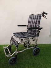 "Blue Check Pattern Aluminium Transit Wheelchair with Carry Bag 9kg (16"") - Asian Integrated Medical Sdn Bhd (ielder.asia)"