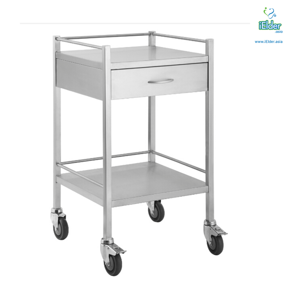 [Pre-order] Arata Stainless Steel Single Drawer Dressing Trolley with Guardrail (MADE IN MALAYSIA)