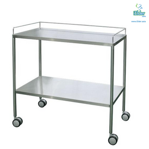 [Pre-order] Arata 2 Tier Hospital Stainless Steel Instrument Trolley with Guardrail