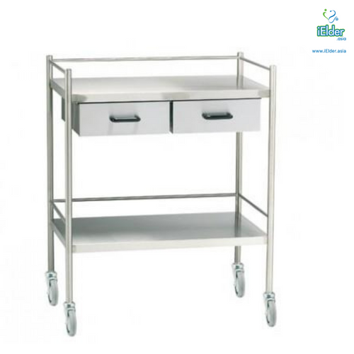 [Pre-order] Arata Stainless Steel Double Horizontal Drawer Dressing Trolley with Guardrail