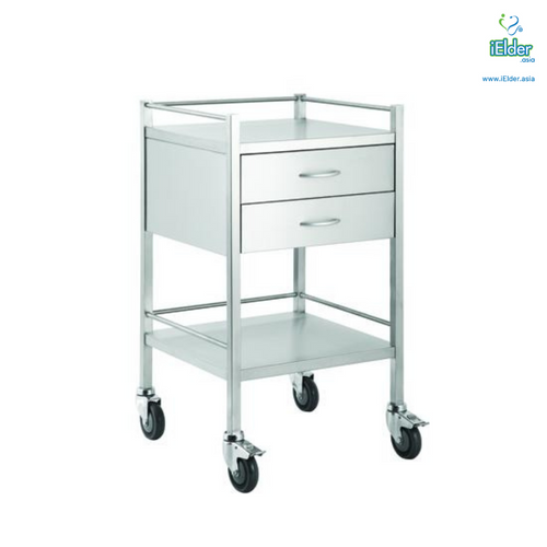 [Pre-order] Arata Stainless Steel Double Vertical Drawer Dressing Trolley with Guardrail