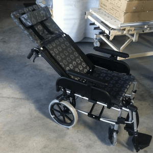 Black Flower Pattern Comfort Evolution Recliner Pushchair / Wheelchair - Asian Integrated Medical Sdn Bhd (ielder.asia)