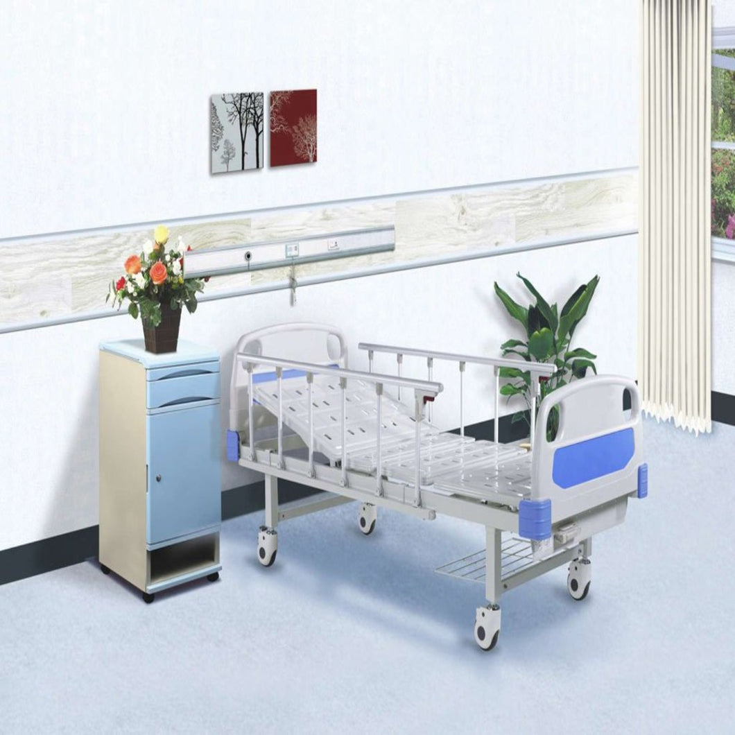 Single crank hospital bed with side rail one pair