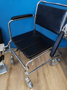 Chrome Steel DAF (Detachable Arm Rest & Foot Rest) Commode Push Chair