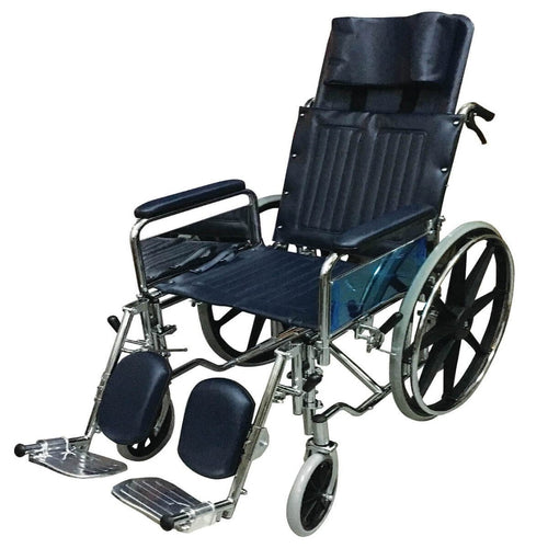 Chrome Steel Reclining Wheelchair (Detachable Armrests, Elevating Footrests, 25kg, 18