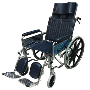 "Chrome Steel Reclining Wheelchair (Detachable Armrests, Elevating Footrests, 25kg, 18"") - Asian Integrated Medical Sdn Bhd (ielder.asia)"