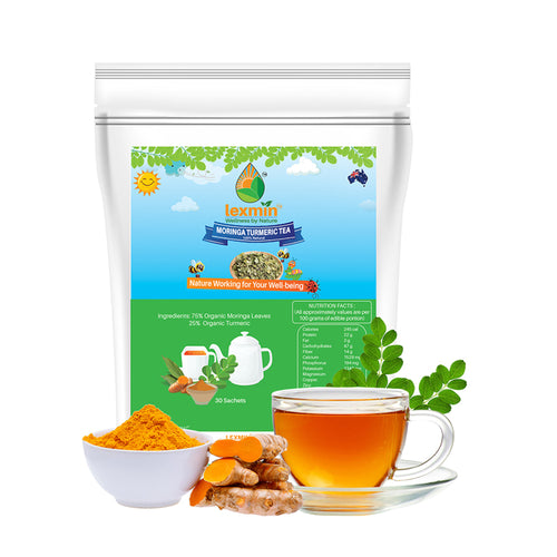 Lexmin Organic Moringa Tumeric Tea (30 Sachets) - Asian Integrated Medical Sdn Bhd (ielder.asia)