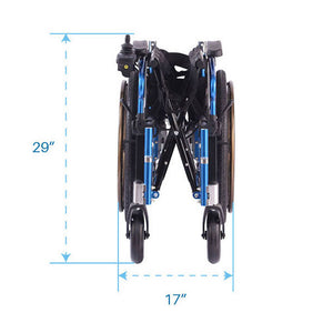 Dual Function Foldable Power Wheelchair folded view from front