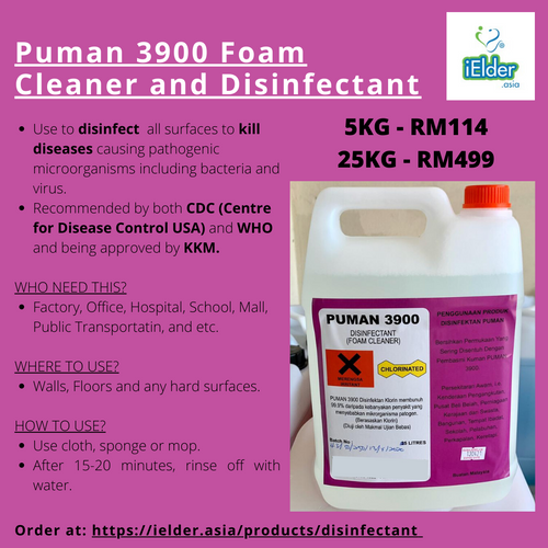 Puman 3900 Foam Cleaner and Disinfectant (Chlorinated) - Asian Integrated Medical Sdn Bhd (ielder.asia)