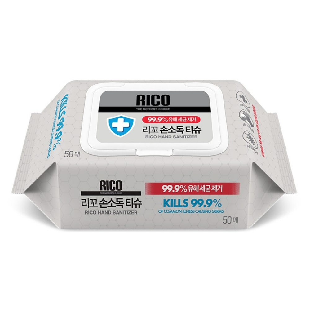 RICO Hand Sanitizer Wipes (62% alcohol, Kill 99.9% germs) - Made in Korea