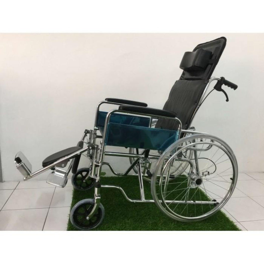 Steel Reclining Wheelchair 24kg side view