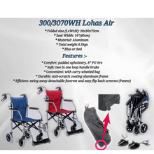 "Blue Lohas Air Compact Lightweight Travel Wheelchair w/ Bag 8.5kg (16"")"