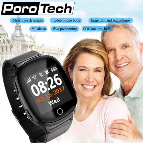 D100 Smart Watch GPS+LBS+WIFI Positioning Anti-lost Heart Rate Sports Tracker  Alarm  Wristwatch for Old People Elder