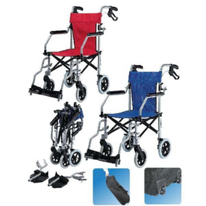"Lohas Wheelchair Blue Air Compact Lightweight Travel  w/ Bag 8.5kg (16"")"
