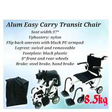 "Comfy Wheelchair Black Aluminium Lightweight Easy Carry Transit with Carry Bag 8.5kg (17"") - Asian Integrated Medical Sdn Bhd (ielder.asia)"