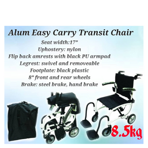 "Comfy Wheelchair Black Aluminium Lightweight Easy Carry Transit with Carry Bag 8.5kg (17"")"