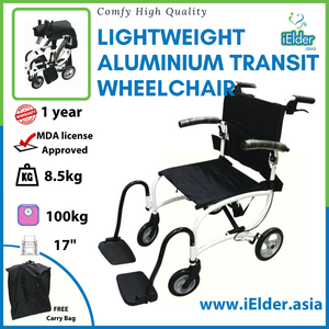 "Comfy High Quality lightweight Aluminium Transit wheelchair with Carry Bag 8.5kg (17"")"