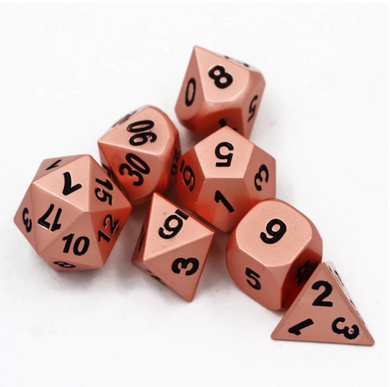 Copper metal dice with black numbering