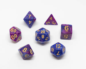 7 dice set, Blue and purple with gold numbering