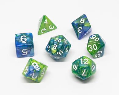7 dice set, Blue and green with white numbering