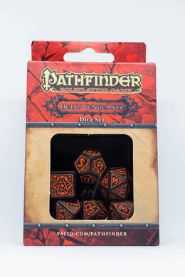 Pathfinder Hell's Vengeance, Black and Burnt Orange 7 dice polyhedral set