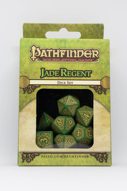 Pathfinder Jade Regent, Green and Mustard 7 dice polyhedral set