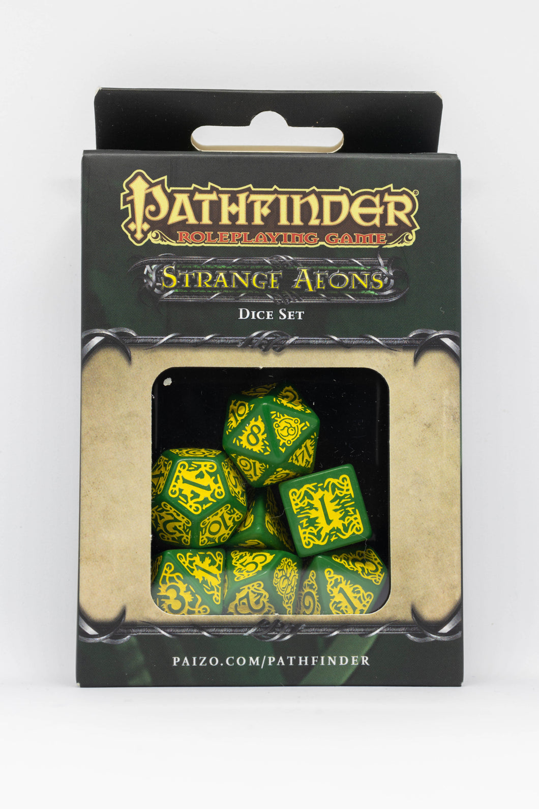 Pathfinder Strange Aeons, Green and Yellow 7 dice polyhedral set