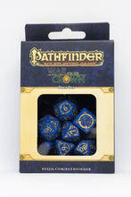 Load image into Gallery viewer, Pathfinder War for the Crown, Blue and Gold 7 dice polyhedral set