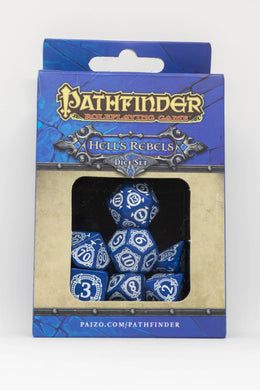 Pathfinder Hell's Rebels, Blue and White 7 dice polyhedral set