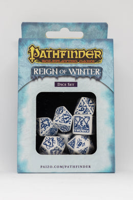 Pathfinder Reign of Winter, Glacial White and Blue 7 dice polyhedral set