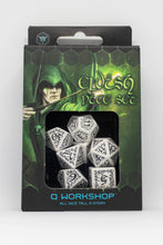 Load image into Gallery viewer, Elven Dice, White and Black, 7 dice polyhedral set