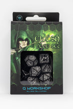 Load image into Gallery viewer, Elven Dice, Black and White, 7 dice polyhedral set