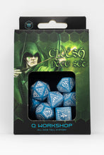 Load image into Gallery viewer, Elven Dice, Blue and White, 7 dice polyhedral set