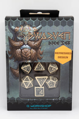 Dwarven Dice - Beige and black, 7 dice polyhedral set