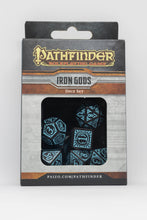 Load image into Gallery viewer, Pathfinder Iron Gods, Black and Blue 7 dice polyhedral set