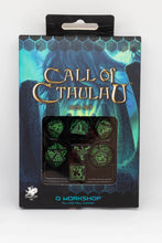 Load image into Gallery viewer, Call of Cthuhlu, Black and Green, 7 dice polyhedral set