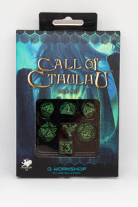 Call of Cthuhlu, Black and Green, 7 dice polyhedral set